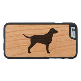 Silueta revestida rizada del perro perdiguero funda de cerezo para iPhone 6 de carved