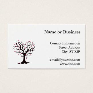 Silueta rosada del árbol del corazón tarjeta de negocios