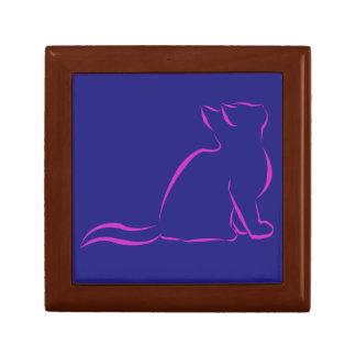 Silueta rosada del gato caja de regalo