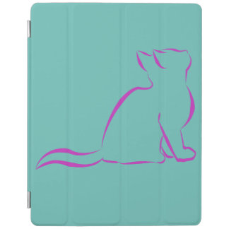 Silueta rosada del gato cover de iPad