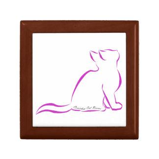 Silueta rosada del gato, texto interior caja de regalo