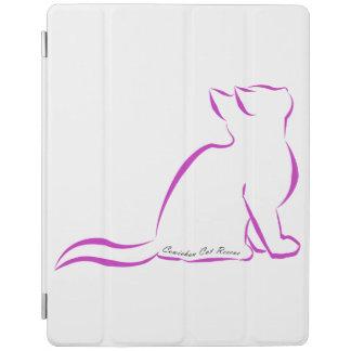 Silueta rosada del gato, texto interior cubierta de iPad
