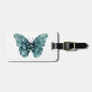 Silueta suculenta azulverde de la mariposa etiqueta para maletas