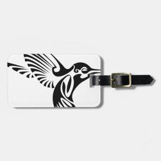 Silueta tribal del colibrí etiqueta para maletas