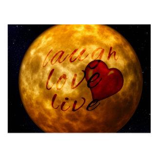 silueta viva de la luna del amor de la risa postal