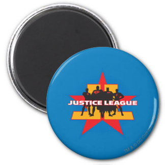 Siluetas de la liga de justicia y fondo de la estr imán redondo 5 cm