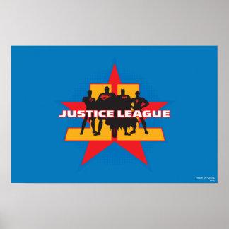 Siluetas de la liga de justicia y fondo de la estr póster