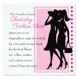 Siluetas de la moda invitación 13,3 cm x 13,3cm