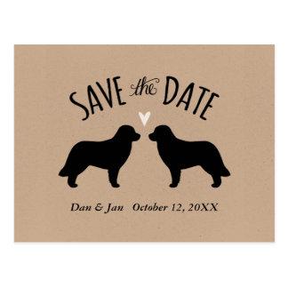 Siluetas de Leonberger que casan reserva la fecha Postal