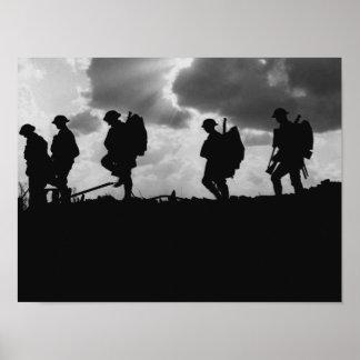 Siluetas del soldado WW1 - batalla de Broodseinde Póster