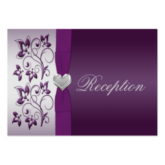 Silver and Purple Floral Enclosure Card Business Cards