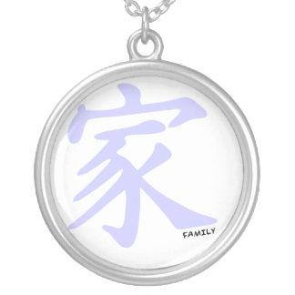 Símbolo chino azul de la familia de la lavanda colgante redondo