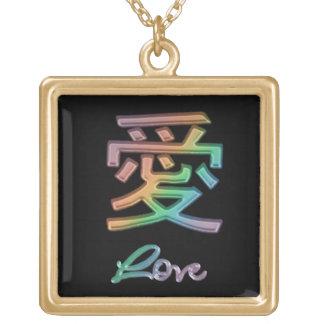 Símbolo chino coloreado arco iris para el amor en colgante cuadrado