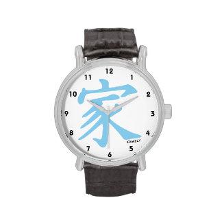 Símbolo chino de la familia de los azules cielos reloj