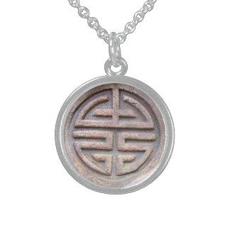 Símbolo chino de la longevidad collar de plata de ley