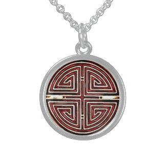 Símbolo chino de la longevidad collar de plata esterlina