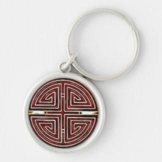Símbolo chino de la longevidad llavero redondo plateado