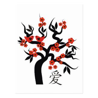 Símbolo chino del amor del cerezo de Sakura de los Postal