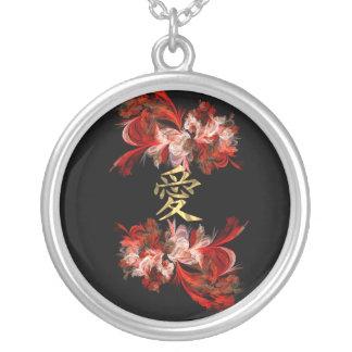 Símbolo chino del amor en fractal rojo colgante redondo