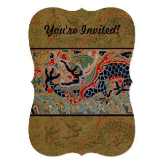 Símbolo chino del dragón del vintage de la fuerza invitación 12,7 x 17,8 cm