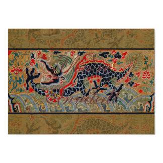 Símbolo chino del dragón del vintage de la fuerza invitación 11,4 x 15,8 cm