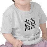 Símbolo chino para la felicidad doble camisetas