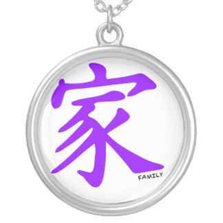 Símbolo chino púrpura violeta para la familia joyería