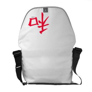 Símbolo chino rojo del escarlata para la paz bolsa messenger