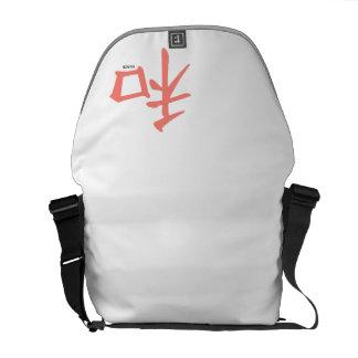 Símbolo chino rosado coralino para la paz bolsa messenger