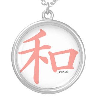 Símbolo chino rosado coralino para la paz joyerias personalizadas