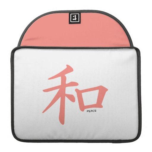 Símbolo chino rosado coralino para la paz fundas macbook pro