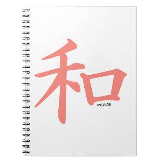 Símbolo chino rosado coralino para la paz libros de apuntes