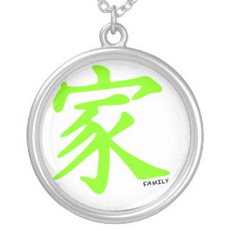 Símbolo chino verde chartreuse, de neón de la colgante redondo