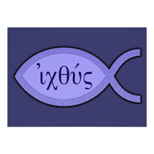 Símbolo cristiano de los pescados de IXOYE - perga Invitación Personalizada