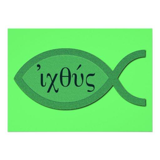 Símbolo cristiano de los pescados de IXOYE - perga Invitacion Personal