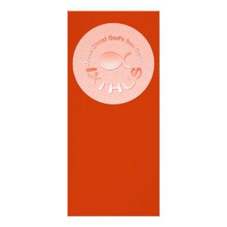 Símbolo cristiano de los pescados de IXTHUS - COBR Tarjeta Publicitaria A Todo Color