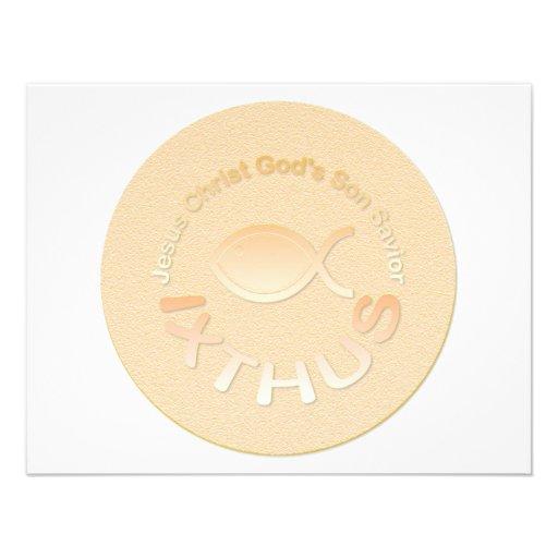 Símbolo cristiano de los pescados de IXTHUS - ORO Invitacion Personalizada
