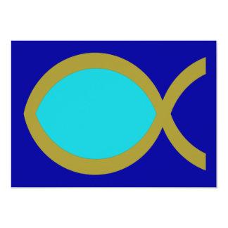 Símbolo cristiano de los pescados invitación 12,7 x 17,8 cm