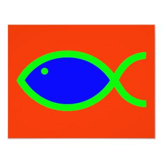 ¡Símbolo cristiano de los pescados - RUIDOSAMENTE! Invitación 10,8 X 13,9 Cm