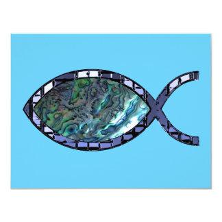 Símbolo cristiano radiante de los pescados invitación 10,8 x 13,9 cm