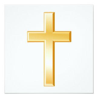 Símbolo cruzado cristiano invitación 13,3 cm x 13,3cm