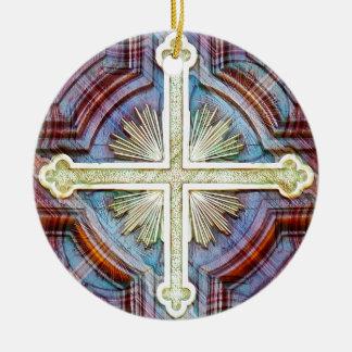 Símbolo cruzado cristiano religioso adorno navideño redondo de cerámica