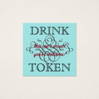 Símbolo de la bebida tarjeta de visita cuadrada