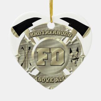 Símbolo de la fraternidad del bombero del oro adorno navideño de cerámica en forma de corazón