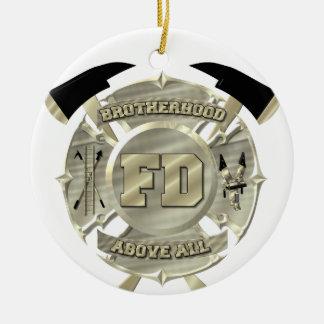 Símbolo de la fraternidad del bombero del oro adorno navideño redondo de cerámica