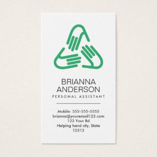 Símbolo de las manos amigas, verde, ayudante tarjeta de visita