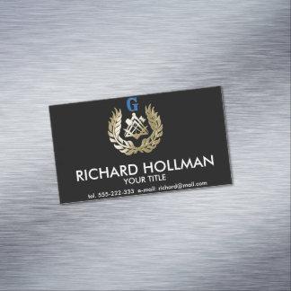 Símbolo de oro de la albañilería tarjeta de visita magnética