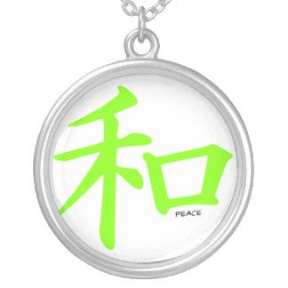 Símbolo de paz chino verde chartreuse, de neón pendiente personalizado