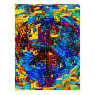 Símbolo de paz colorido del mosaico postal
