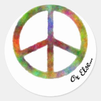 """Símbolo de paz con """"o bien"""" pegatina redonda"""
